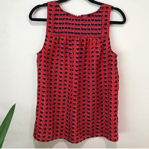 Cynthia Rowley red tank with blue hearts